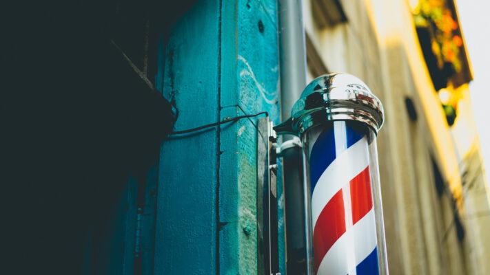 rood/blauwe barberspaal